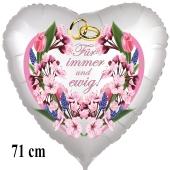 Für immer und ewig! Herzluftballon aus Folie, satin-weiss, 71 cm