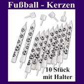 Fußball Kerzen, 10 Stück mit Halter