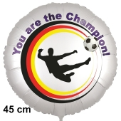 Fußball Luftballon. You are the Champion! 45 cm inklusive Helium