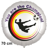 Fußball Luftballon. You are the Champion! 70 cm inklusive Helium