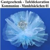 Gastgeschenk und Tafeldekoration zur Kommunion, Mandelsäckchen Tüll-Bouquet 01