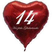 Roter Herzluftballon zum 14. Geburtstag, 61 cm