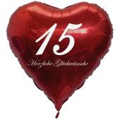 Roter Herzluftballon zum 15. Geburtstag, 61 cm