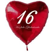 Roter Herzluftballon zum 16. Geburtstag, 61 cm