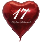 Roter Herzluftballon zum 17. Geburtstag, 61 cm