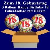 3 Ballons aus Folie mit Helium zum 18. Geburtstag, Geburtstagsdekoration und Geburtstagsgeschenk