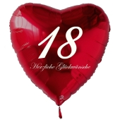 Zum 18. Geburtstag, roter Herzluftballon mit Helium