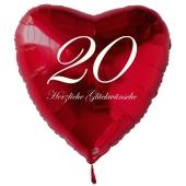 Zum 20. Geburtstag, roter Herzluftballon mit Helium