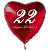 Zum 22. Geburtstag, roter Herzluftballon mit Helium