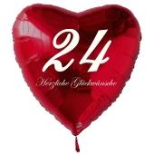 Zum 24. Geburtstag, roter Herzluftballon mit Helium