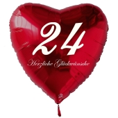 Roter Herzluftballon zum 24. Geburtstag, 61 cm