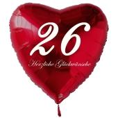 Zum 26. Geburtstag, roter Herzluftballon mit Helium