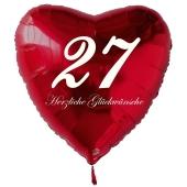 Zum 27. Geburtstag, roter Herzluftballon mit Helium