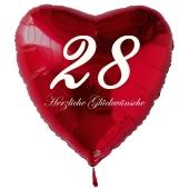 Zum 28. Geburtstag, roter Herzluftballon mit Helium