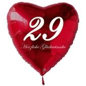 Zum 29. Geburtstag, roter Herzluftballon mit Helium