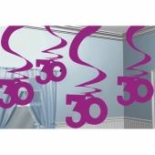 Dekoration zum 30. Geburtstag, Zahlenwirbler Pink Shimmer 30