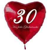 Zum 30. Geburtstag, roter Herzluftballon mit Helium