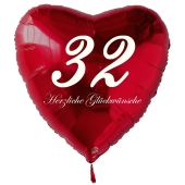 Zum 32. Geburtstag, roter Herzluftballon mit Helium