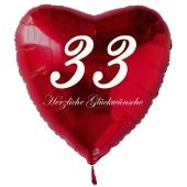 Zum 33. Geburtstag, roter Herzluftballon mit Helium