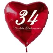 Zum 34. Geburtstag, roter Herzluftballon mit Helium