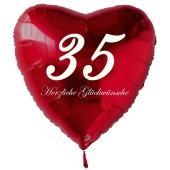Zum 35. Geburtstag, roter Herzluftballon mit Helium