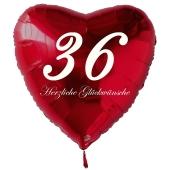 Zum 36. Geburtstag, roter Herzluftballon mit Helium