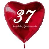 Zum 37. Geburtstag, roter Herzluftballon mit Helium