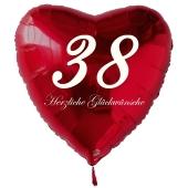 Zum 38. Geburtstag, roter Herzluftballon mit Helium
