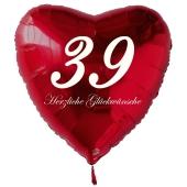Zum 39. Geburtstag, roter Herzluftballon mit Helium