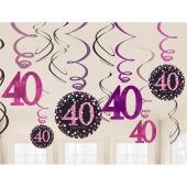 Dekoration zum 40. Geburtstag, Zahlenwirbler Pink Celebration