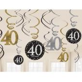 Dekoration zum 40. Geburtstag, Zahlenwirbler Sparkling Celebration
