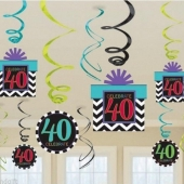 Zahlendekoration Zahl 40, zum 40. Geburtstag, Zahlenwirbler