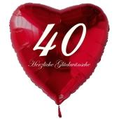 Zum 40. Geburtstag, roter Herzluftballon mit Helium