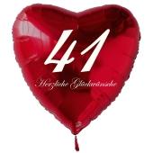 Zum 41. Geburtstag, roter Herzluftballon mit Helium