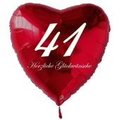 Roter Herzluftballon zum 41. Geburtstag, 61 cm