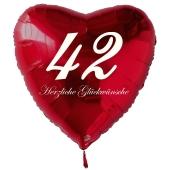 Zum 42. Geburtstag, roter Herzluftballon mit Helium
