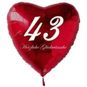 Zum 43. Geburtstag, roter Herzluftballon mit Helium