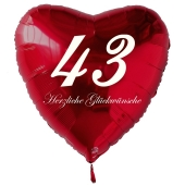 Roter Herzluftballon zum 43. Geburtstag, 61 cm