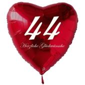 Zum 44. Geburtstag, roter Herzluftballon mit Helium