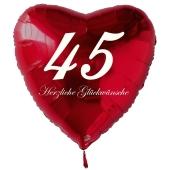 Zum 45. Geburtstag, roter Herzluftballon mit Helium