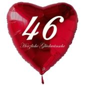 Zum 46. Geburtstag, roter Herzluftballon mit Helium