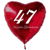 Roter Herzluftballon zum 47. Geburtstag, 61 cm