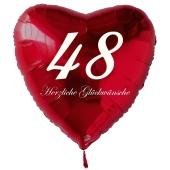 Zum 48. Geburtstag, roter Herzluftballon mit Helium