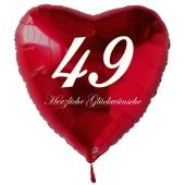 Zum 49. Geburtstag, roter Herzluftballon mit Helium