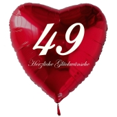 Roter Herzluftballon zum 49. Geburtstag, 61 cm