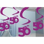 Dekoration zum 50. Geburtstag, Zahlenwirbler Pink Shimmer 50