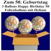 3 Ballons aus Folie mit Helium, Geburtstag 50, Dekoration zur Geburtstagsfeier und Geburtstagsgeschenk