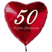 Zum 50. Geburtstag, roter Herzluftballon mit Helium