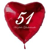 Zum 51. Geburtstag, roter Herzluftballon mit Helium
