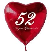 Zum 52. Geburtstag, roter Herzluftballon mit Helium